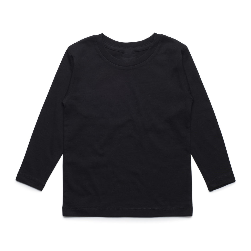 Boys Long Sleeve Cotton Tee (Black)