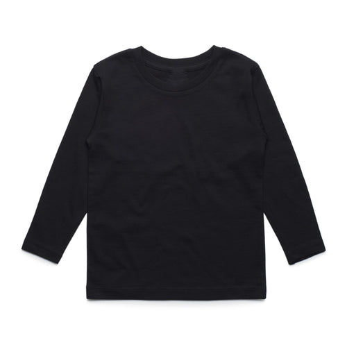 Girls Long Sleeve Cotton Tee (Black)