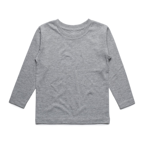 Girls Long Sleeve Cotton Tee (Grey)