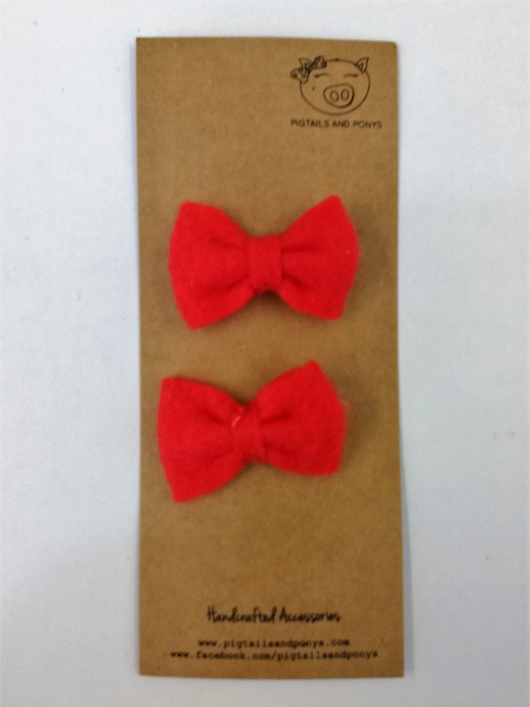 Pigtails and Pony (red felt bow tie)
