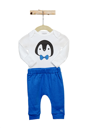 Combination Onesie and Blue Pant Penguin Set