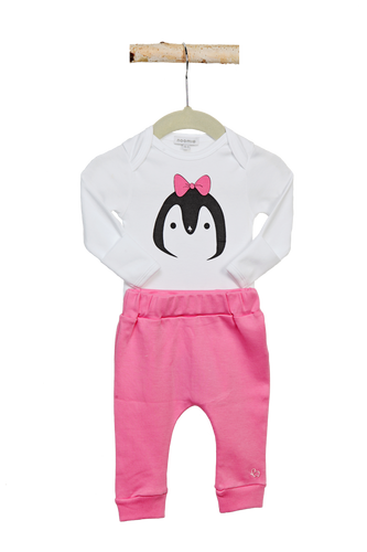 Combination Onesie and Pink Pant Penguin Set