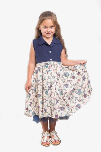 Navy Collared with Floral Flare and Net Hem Dress