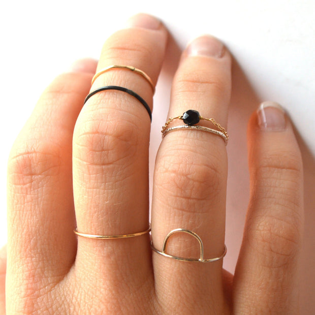 Arc Ring in 14k gold fill modeled | Fresh Tangerine