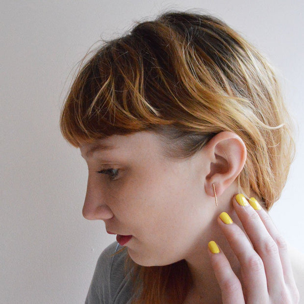 Baguette Earring in 14k gold fill modeled | Fresh Tangerine