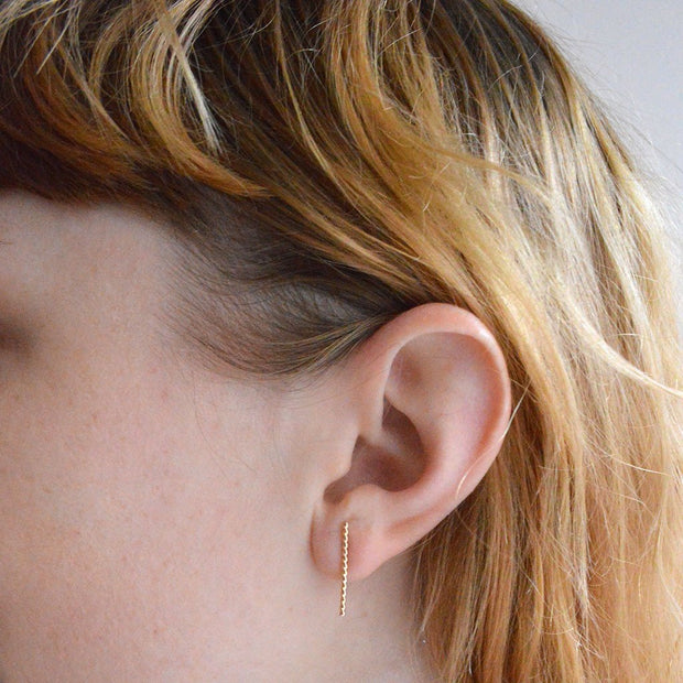 Baguette Earring - in 14k gold fill modeled close up | Fresh Tangerine