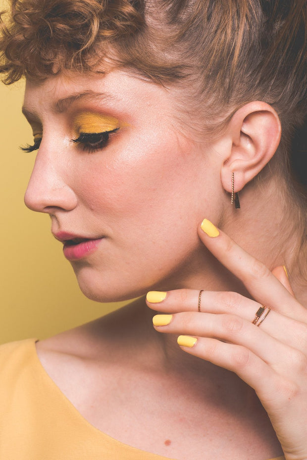 Baguette Earring with Jacket in 14k gold fill modeled | Fresh Tangerine