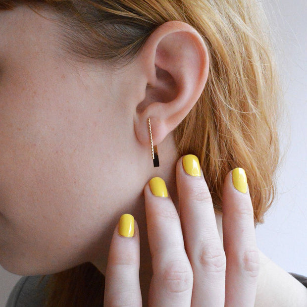 Baguette Earring with Jacket in 14k gold fill modeled close up | Fresh Tangerine