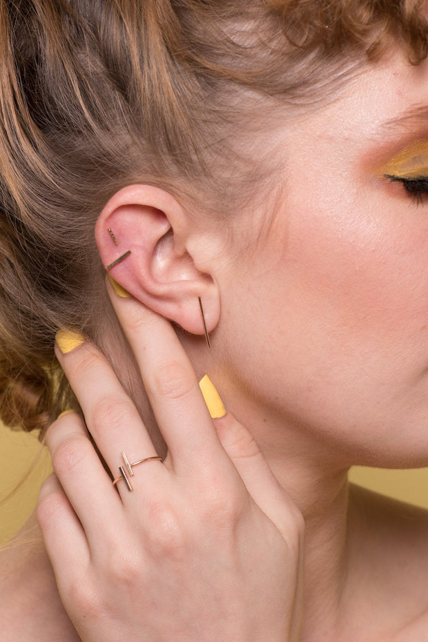 Baton Earring in 14k gold fill modeled 2  | Fresh Tangerine