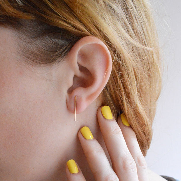 Baton Earring in 14k gold fill modeled close up | Fresh Tangerine