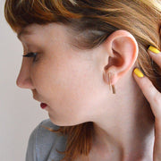Baton Earring with Jacket in 14k gold fill modeled jacket behind ear | Fresh Tangerine