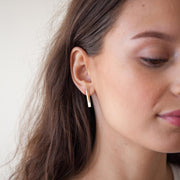 Baton Earring with Jacket in 14k gold fill modeled with jacket in front of ear| Fresh Tangerine