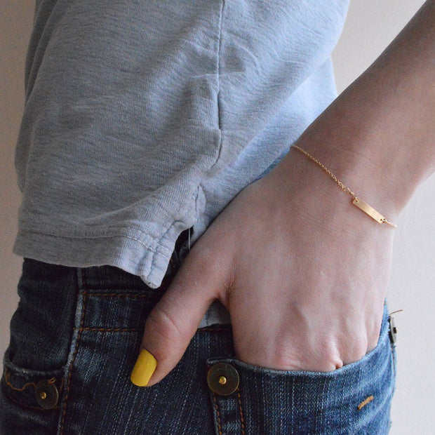 Chou Bracelet in 14k gold fill modeled close up | Fresh Tangerine