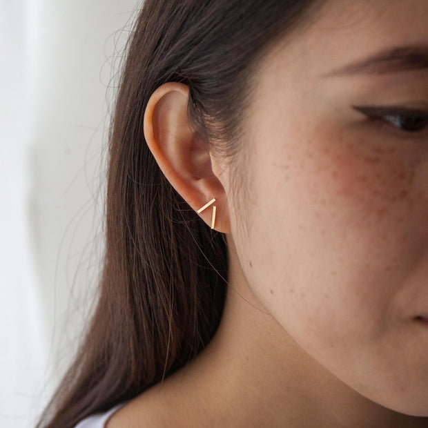 Chou Earring in 14k gold fill modeled close up | Fresh Tangerine