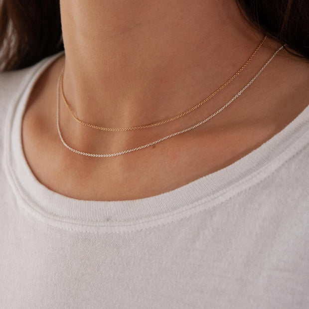 Classic Necklace Chain in 14k gold fill and sterling silver modeled together | Fresh Tangerine