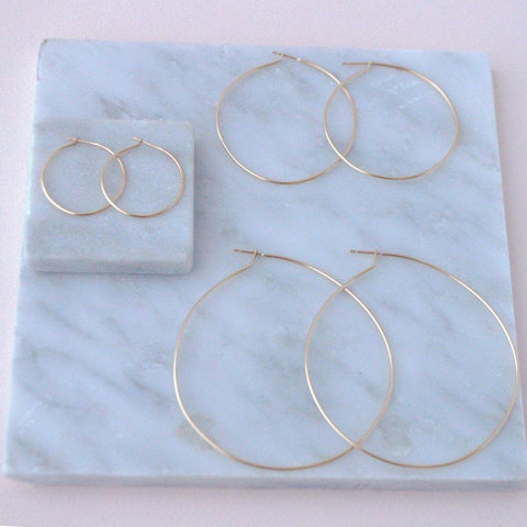 Classic Hoop all sizes in 14k gold fill flatlay | Fresh Tangerine
