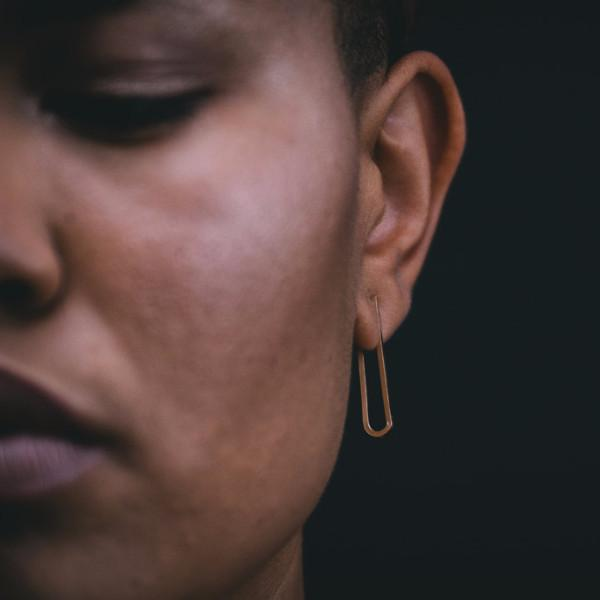 Ellipse Earring in 14k gold fill modeled close up | Fresh Tangerine