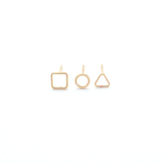 Geometric Earring Trio in 14k gold fill | Fresh Tangerine