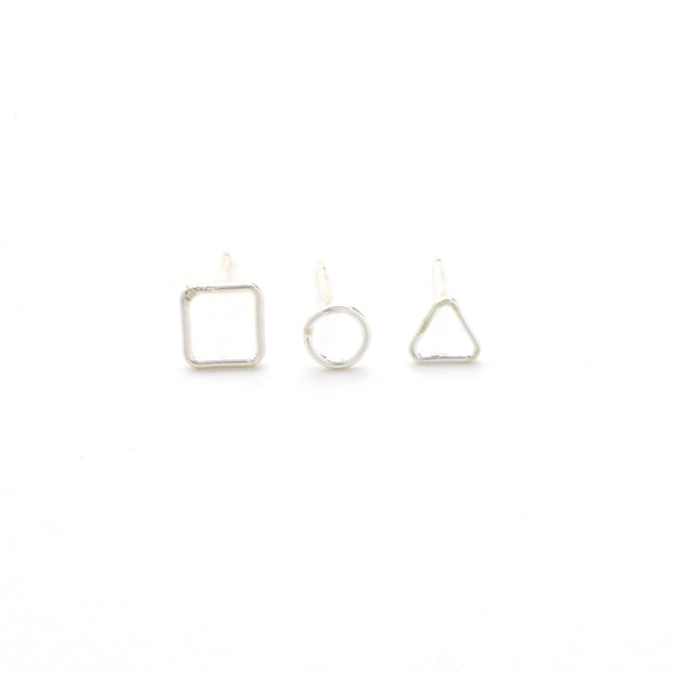 Geometric Earring Trio in sterling silver | Fresh Tangerine