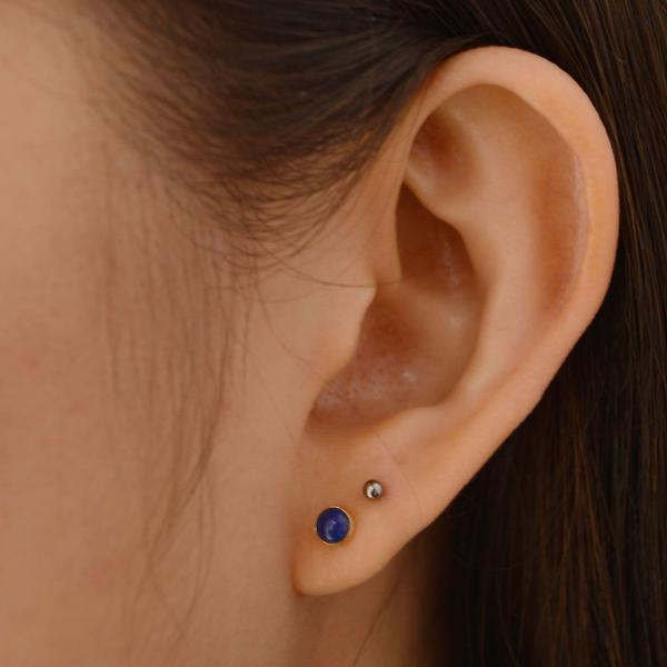 Lapis Earring in 14k gold fill modeled | Fresh Tangerine