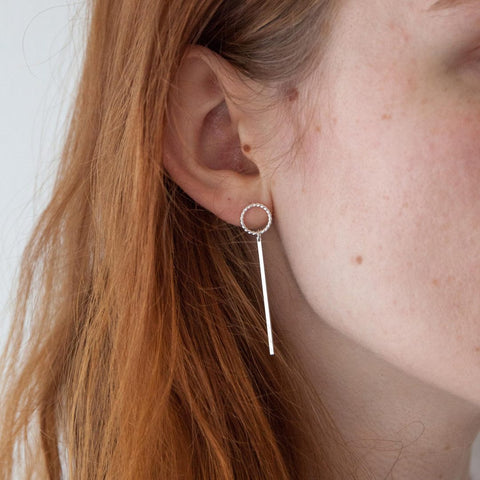 Meridian Earring in sterling silver modeled | Fresh Tangerine
