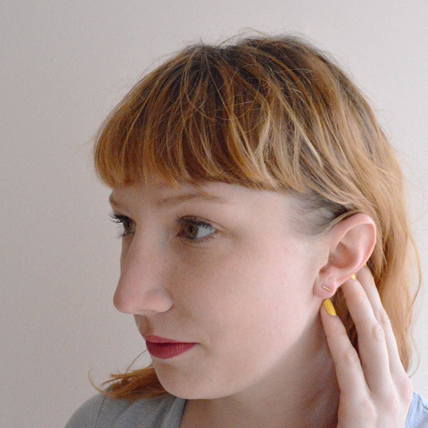 Mini Baguette Earring in 14k gold fill modeled 2 | Fresh Tangerine