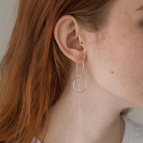 Nova Earring in sterling silver modeled | Fresh Tangerine