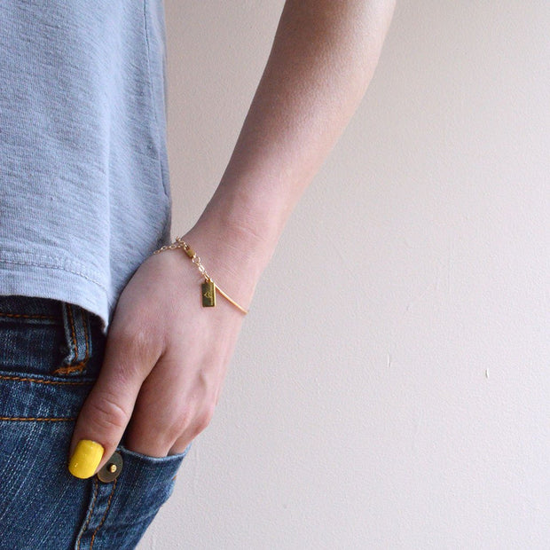 Petite Curve Bracelet in 14k gold fill modeled | Fresh Tangerine
