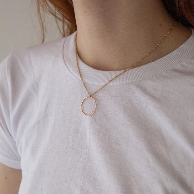 Selene Necklace in 14k gold fill modeled | Fresh Tangerine