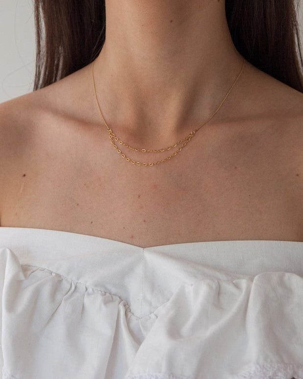 Stardust Necklace in 14k gold fill modeled | Fresh Tangerine