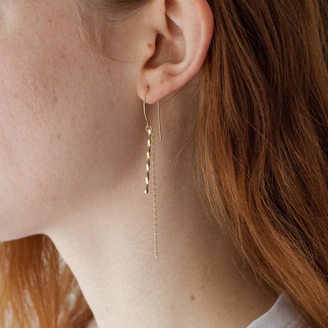 Stella Earring in 14k gold fill modeled close up | Fresh Tangerine