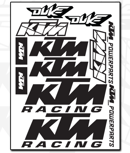 KTM Decal Sheet