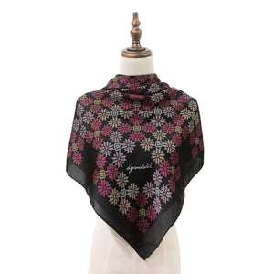 Songket Melur Square Shawl in Black