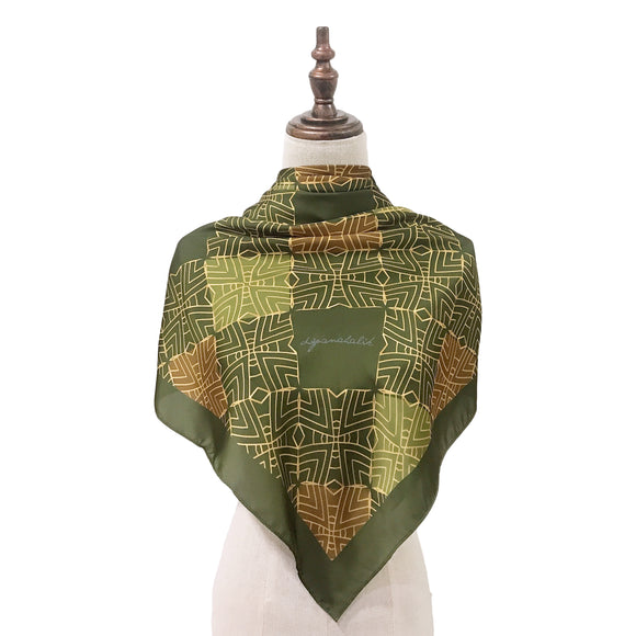 Traditional Teja Square Shawl in Olive Green