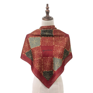 Traditional Teja Square Shawl in Deep Red