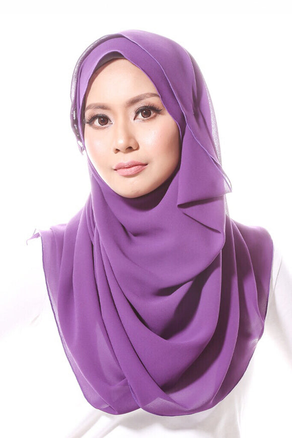 [DISPLAY PIECE] Chiffon Shawl with Embellishments - Purple