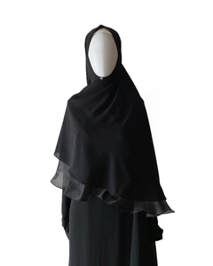 Khimar with Organza - Black