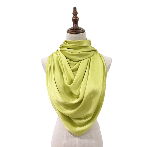 Luxe Satin Silk Lush with Crystals in Honeydew