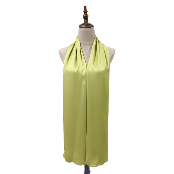 Luxe Satin Silk Shawl in Honeydew