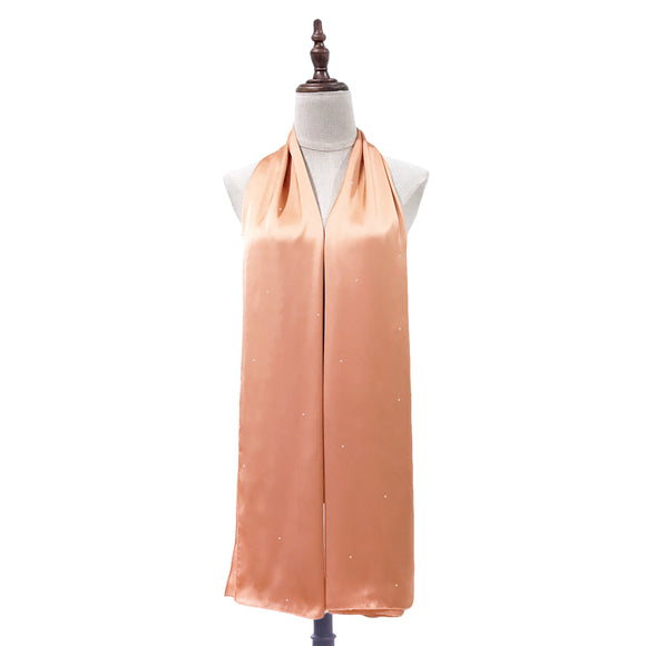 Luxe Satin Silk Shawl with Crystals in Apricot