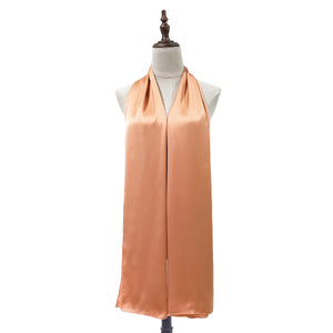 Luxe Satin Silk Shawl in Apricot