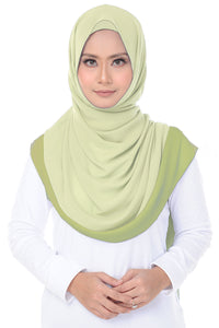 Two Tone Shawl - Lime Green