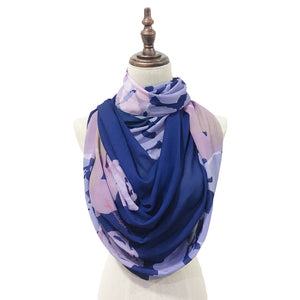 Lush Printed Chiffon - Roses in Navy Blue
