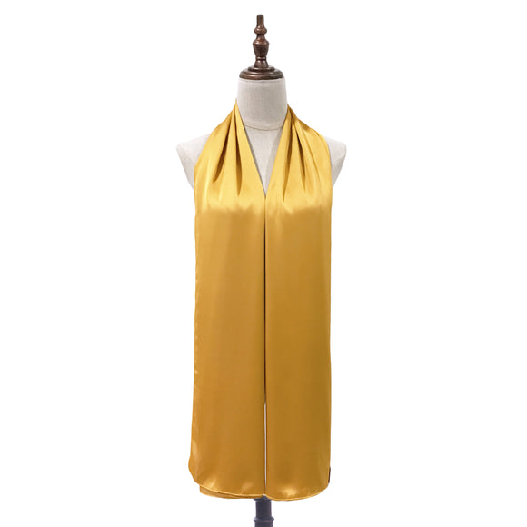 Luxe Satin Silk Shawl in Mustard