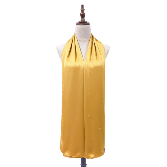[PRE ORDER] Luxe Satin Silk Shawl with Crystals in Mustard
