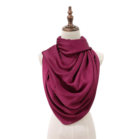 Luxe Satin Silk Lush with Crystals in Plum