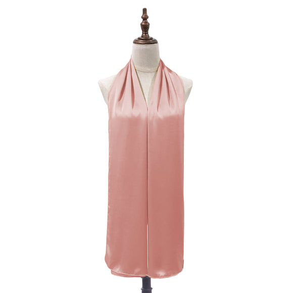 Luxe Satin Silk Shawl in Peach Pink