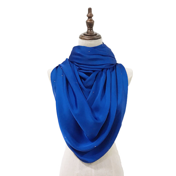 Luxe Satin Silk Lush with Crystals in Royal Blue