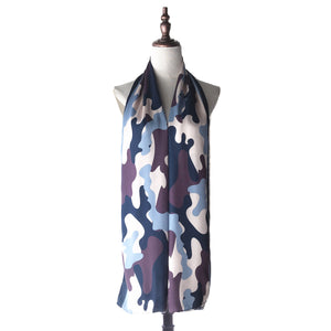 Printed Shawl - Camo in Blue Heather