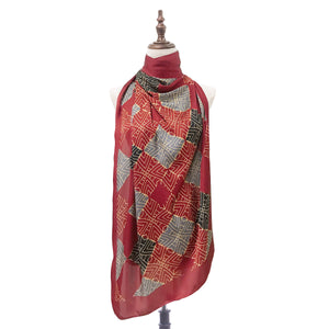 Traditional Teja Shawl in Deep Red